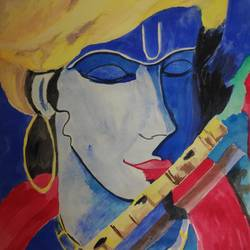 blue krishna, 10 x 14 inch, supriya barsode,10x14inch,paper,paintings,abstract paintings,religious paintings,paintings for dining room,paintings for living room,paintings for bedroom,paintings for office,paintings for kids room,paintings for hotel,acrylic color,paper,GAL02914345154