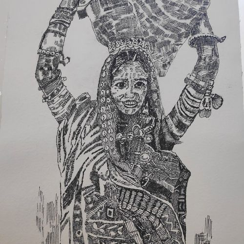 lady with a basket, 10 x 14 inch, supriya barsode,10x14inch,handmade paper,drawings,portrait drawings,paintings for dining room,paintings for living room,paintings for bedroom,paintings for office,paintings for kids room,paintings for hotel,paintings for kitchen,paintings for school,paintings for hospital,pen color,paper,GAL02914345156