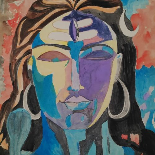 shiva in purple and blue, 10 x 14 inch, supriya barsode,10x14inch,paper,paintings,abstract paintings,lord shiva paintings,paintings for dining room,paintings for living room,paintings for bedroom,paintings for office,paintings for kids room,paintings for hotel,paintings for kitchen,paintings for school,paintings for hospital,acrylic color,paper,GAL02914345159