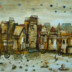 pilgrim 3, 28 x 22 inch, arindam chakraborty,abstract paintings,paintings for office,fabriano sheet,mixed media,28x22inch,GAL015934516