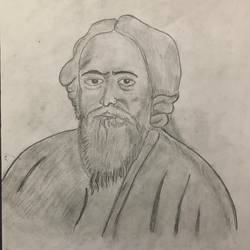 rabindranath tagore pencil sketch, 8 x 12 inch, selvaraj g,8x12inch,thick paper,drawings,modern drawings,portrait drawings,paintings for living room,paintings for office,paintings for kids room,pencil color,paper,GAL03230145189
