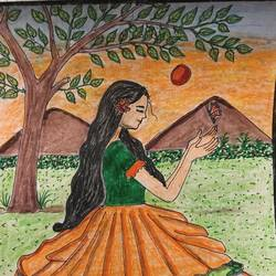 girl playing under a tree, 9 x 12 inch, selvaraj g,9x12inch,thick paper,drawings,folk drawings,illustration drawings,realism drawings,kids drawings,paintings for living room,paintings for office,paintings for kids room,pen color,pencil color,GAL03230145190