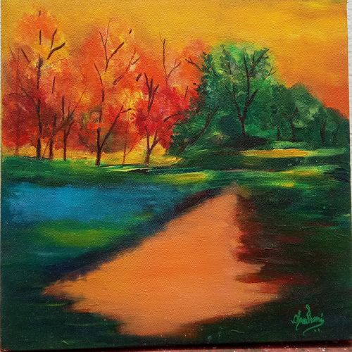 nature, 16 x 12 inch, chandrani banerjee,16x12inch,canvas,paintings,landscape paintings,modern art paintings,conceptual paintings,nature paintings   scenery paintings,expressionism paintings,paintings for dining room,paintings for living room,paintings for bedroom,paintings for office,paintings for kids room,paintings for hotel,paintings for kitchen,paintings for school,paintings for hospital,acrylic color,enamel color,ink color,natural color,oil color,pastel color,pencil color,poster color,ball point pen,graphite pencil,paper,GAL02832045192