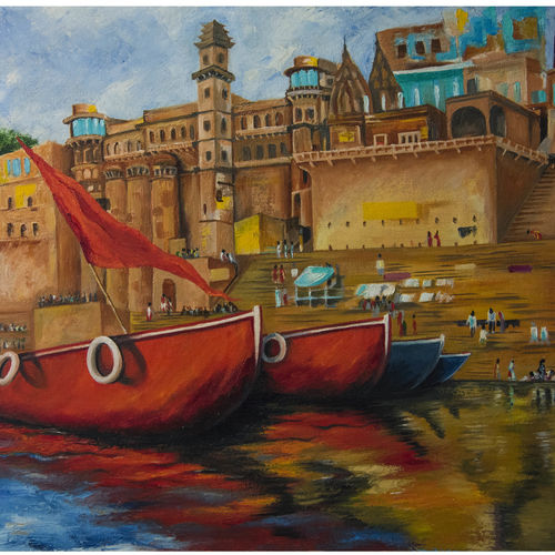 banaras, 22 x 28 inch, artistically amazing,22x28inch,canvas,paintings,landscape paintings,realistic paintings,paintings for dining room,paintings for living room,oil color,GAL02802645193