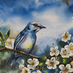 bird and cherry blossom, 11 x 9 inch, artistically amazing,11x9inch,brustro watercolor paper,paintings,flower paintings,landscape paintings,nature paintings   scenery paintings,illustration paintings,animal paintings,realistic paintings,watercolor,paper,GAL02802645194