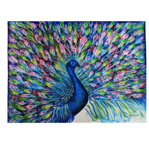 peacock love, 12 x 16 inch, namrata shah,12x16inch,canvas,paintings,abstract paintings,wildlife paintings,nature paintings | scenery paintings,art deco paintings,impressionist paintings,realistic paintings,paintings for dining room,paintings for living room,paintings for bedroom,paintings for office,paintings for hotel,paintings for school,acrylic color,GAL03245945195