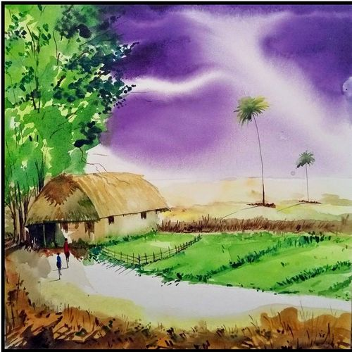 village, 18 x 18 inch, surya vamshi,landscape paintings,paintings for office,canvas,acrylic color,18x18inch,GAL0235452