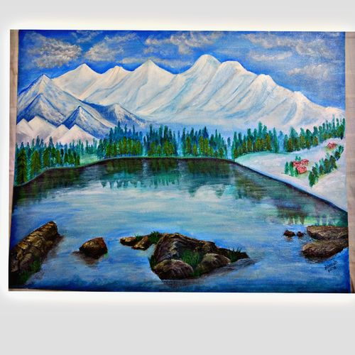 nature & peace, 30 x 24 inch, namrata s,30x24inch,canvas,paintings,landscape paintings,nature paintings | scenery paintings,paintings for dining room,paintings for living room,paintings for bedroom,paintings for office,paintings for hotel,paintings for school,paintings for hospital,acrylic color,GAL03245945201