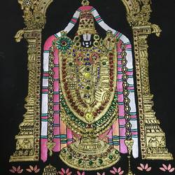 emboss  with kundan works, 15 x 18 inch, kaviya s,religious paintings,paintings for living room,cloth,acrylic color,15x18inch,GAL015954522