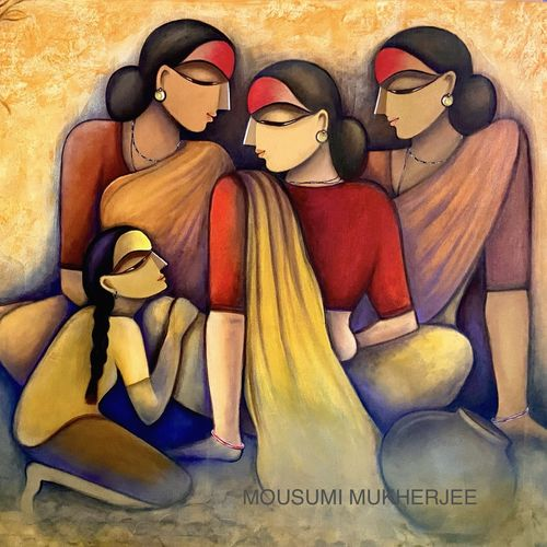 village life, 39 x 30 inch, mousumi mukherjee ,39x30inch,canvas,contemporary paintings,acrylic color,GAL03249445229