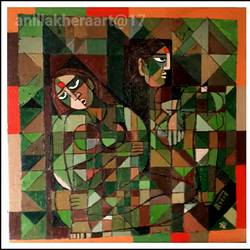 two sisters, 24 x 24 inch, anil kumar lakhera,multi piece paintings,paintings for living room,canvas,acrylic color,24x24inch,GAL015974523