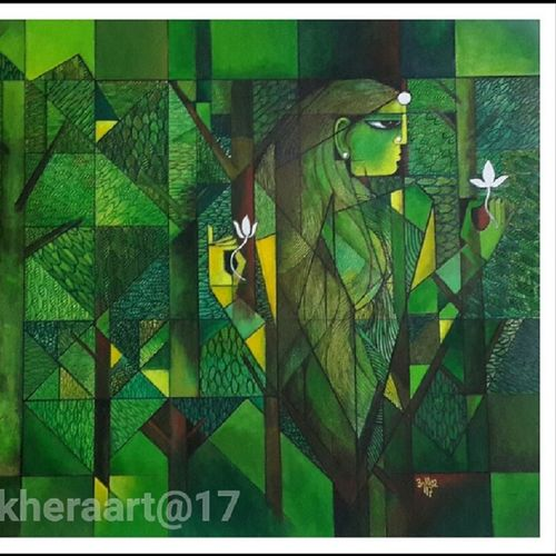 journey through forest, 30 x 20 inch, anil kumar lakhera,nature paintings,paintings for living room,canvas,acrylic color,30x20inch,GAL015974524Nature,environment,Beauty,scenery,greenery