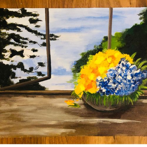 morning glory, 16 x 12 inch, harmeet kaur,16x12inch,canvas,paintings,flower paintings,nature paintings | scenery paintings,art deco paintings,realism paintings,paintings for dining room,paintings for living room,paintings for bedroom,paintings for office,paintings for hotel,paintings for hospital,acrylic color,GAL01457845246