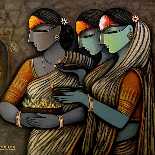 bhakti ii, 32 x 23 inch, mousumi mukherjee ,32x23inch,canvas,paintings,paintings for living room,acrylic color,GAL03249445247