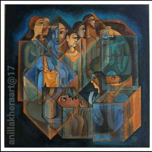 faces and memories, 24 x 24 inch, anil kumar lakhera,figurative paintings,paintings for living room,canvas,acrylic color,24x24inch,GAL015974525
