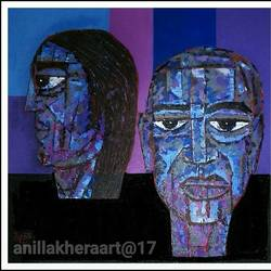 blue heads, 24 x 24 inch, anil kumar lakhera,portrait paintings,paintings for living room,canvas,acrylic color,24x24inch,GAL015974526