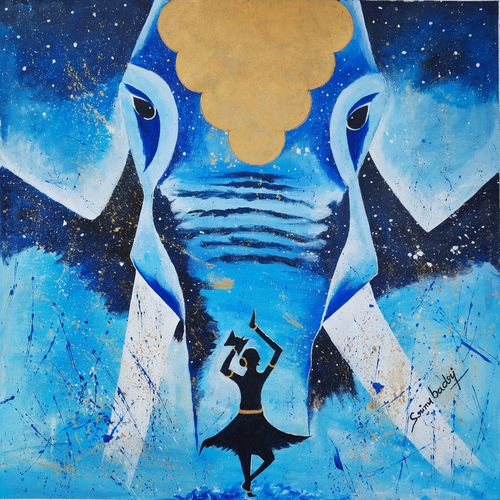 beautiful blue elephant , 28 x 28 inch, srinu badri,28x28inch,canvas,paintings,abstract paintings,modern art paintings,nature paintings   scenery paintings,elephant paintings,paintings for living room,paintings for bedroom,paintings for office,paintings for hotel,acrylic color,GAL01289945272