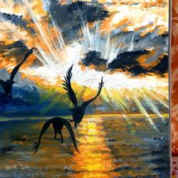 sunset with seagulls, 17 x 12 inch, meeta sinha,17x12inch,oil sheet,paintings,landscape paintings,oil color,GAL03234445276