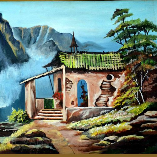hill view, 32 x 26 inch, prafulla  vanmali ,32x26inch,canvas,paintings,landscape paintings,nature paintings | scenery paintings,paintings for dining room,paintings for living room,paintings for hotel,oil color,GAL03084745278