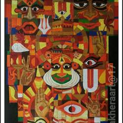 symphony of kathakali, 24 x 30 inch, anil kumar lakhera,religious paintings,paintings for living room,canvas,acrylic color,24x30inch,GAL015974528