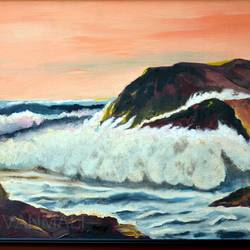 violent seascape, 33 x 23 inch, prafulla  vanmali ,33x23inch,canvas,paintings,nature paintings | scenery paintings,paintings for dining room,paintings for living room,paintings for hotel,oil color,GAL03084745280