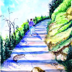 landscape way of heaven, 10 x 13 inch, surendra sinha,10x13inch,paper,paintings,figurative paintings,landscape paintings,paintings for dining room,paintings for living room,paintings for bedroom,paintings for office,paintings for hotel,paintings for school,paintings for hospital,watercolor,paper,GAL03257945299