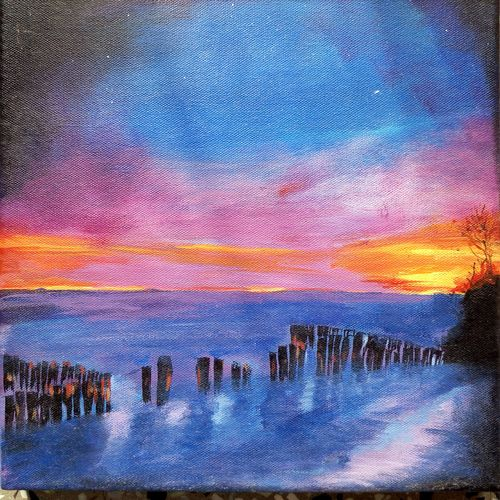 waves, 12 x 12 inch, surya vamshi,landscape paintings,paintings for office,canvas,acrylic color,12x12inch,GAL0235453