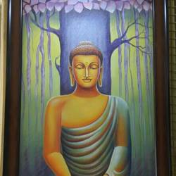lord buddha, 20 x 36 inch, jhanvi shah,buddha paintings,religious paintings,paintings for living room,canvas,oil,20x36inch,religious,peace,meditation,meditating,gautam,goutam,buddha,tree,praying,peaceful,GAL015884530