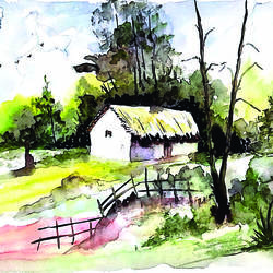 landscape  painting, 10 x 13 inch, surendra sinha,10x13inch,drawing paper,paintings,landscape paintings,paintings for dining room,paintings for living room,paintings for bedroom,paintings for office,paintings for hotel,paintings for hospital,watercolor,paper,GAL03257945300