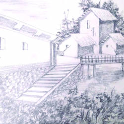 landscape  painting, 13 x 10 inch, surendra sinha,13x10inch,paper,drawings,fine art drawings,paintings for dining room,paintings for living room,paintings for bedroom,paintings for office,paintings for bathroom,paintings for kids room,paintings for hotel,paintings for school,paintings for hospital,pencil color,paper,GAL03257945303