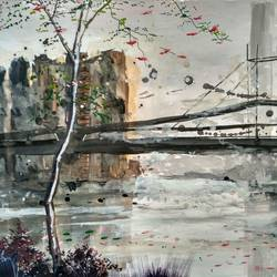 the urban bridge, 13 x 9 inch, anirban  kar,cityscape paintings,paintings for living room,paper,poster color,13x9inch,GAL015604532