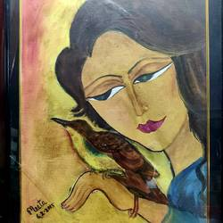girl with bird, 16 x 20 inch, meeta sinha,16x20inch,canvas,paintings,figurative paintings,oil color,GAL03234445328