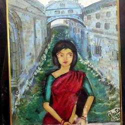 lady on the bridge of sigh, 12 x 16 inch, meeta sinha,12x16inch,canvas,paintings,figurative paintings,oil color,GAL03234445329