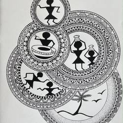 manadala with warli, 11 x 15 inch, bindu bavishi,11x15inch,thick paper,abstract paintings,landscape paintings,modern art paintings,multi piece paintings,conceptual paintings,still life paintings,portrait paintings,illustration paintings,impressionist paintings,love paintings,warli paintings,paintings for dining room,paintings for living room,paintings for bedroom,paintings for office,paintings for kids room,paintings for hotel,paintings for kitchen,paintings for school,paintings for dining room,paintings for living room,paintings for bedroom,paintings for office,paintings for kids room,paintings for hotel,paintings for kitchen,paintings for school,pen color,GAL03248645331
