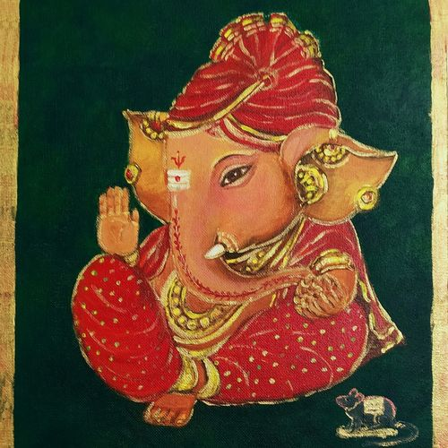 ganesha in red silk, 10 x 12 inch, asha shenoy,10x12inch,canvas board,paintings,ganesha paintings | lord ganesh paintings,paintings for living room,paintings for office,paintings for kids room,paintings for hotel,paintings for school,paintings for hospital,paintings for living room,paintings for office,paintings for kids room,paintings for hotel,paintings for school,paintings for hospital,acrylic color,GAL0865245333
