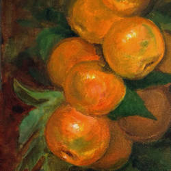 branch of oranges, 8 x 10 inch, asha shenoy,8x10inch,canvas,paintings,still life paintings,paintings for dining room,paintings for office,paintings for hotel,paintings for kitchen,paintings for school,acrylic color,GAL0865245334