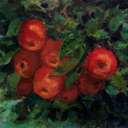 apple branch, 7 x 5 inch, asha shenoy,7x5inch,canvas board,paintings,still life paintings,paintings for dining room,paintings for office,paintings for kids room,paintings for hotel,paintings for kitchen,paintings for school,paintings for hospital,acrylic color,GAL0865245335