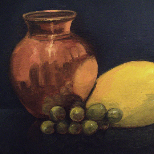 copper pot and fruits, 14 x 12 inch, asha shenoy,14x12inch,canvas,paintings,still life paintings,paintings for dining room,paintings for office,paintings for hotel,paintings for kitchen,paintings for school,paintings for hospital,oil color,GAL0865245336