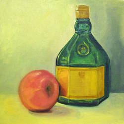 stilllife painting with bottle and apple, 10 x 10 inch, asha shenoy,10x10inch,canvas board,paintings,still life paintings,paintings for dining room,paintings for living room,paintings for office,paintings for hotel,paintings for kitchen,paintings for hospital,oil color,GAL0865245338