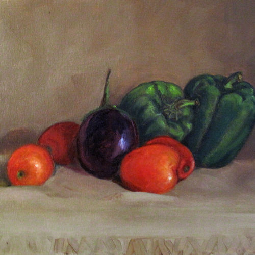 still life with vegetables, 16 x 12 inch, asha shenoy,16x12inch,canvas,paintings,still life paintings,paintings for dining room,paintings for living room,paintings for office,paintings for hotel,paintings for kitchen,paintings for school,paintings for hospital,oil color,GAL0865245341