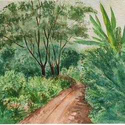 landscape, 15 x 11 inch, ram mohan e,15x11inch,paper,paintings,nature paintings | scenery paintings,impressionist paintings,contemporary paintings,paintings for living room,paintings for office,paintings for kids room,paintings for hotel,paintings for school,watercolor,GAL069745350