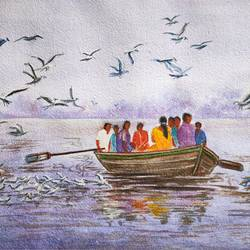 landscape, 15 x 11 inch, ram mohan e,15x11inch,paper,paintings,cityscape paintings,nature paintings | scenery paintings,impressionist paintings,contemporary paintings,paintings for living room,paintings for kids room,paintings for hotel,paintings for school,watercolor,GAL069745351