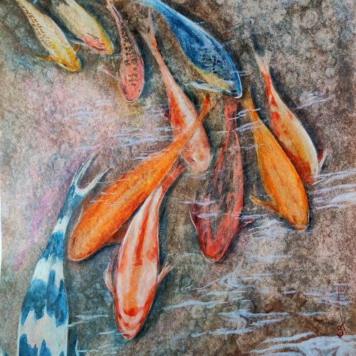 koi , 14 x 18 inch, ram mohan e,14x18inch,paper,paintings,nature paintings | scenery paintings,impressionist paintings,photorealism paintings,realism paintings,animal paintings,paintings for living room,paintings for bedroom,paintings for office,paintings for kids room,paintings for hotel,paintings for kitchen,paintings for school,watercolor,GAL069745357