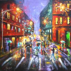 rainy day 5, 30 x 42 inch, arjun das,cityscape paintings,paintings for bedroom,canvas,acrylic color,30x42inch,GAL01124536