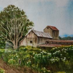 landscape, 18 x 14 inch, ram mohan e,18x14inch,handmade paper,paintings,cityscape paintings,landscape paintings,nature paintings | scenery paintings,impressionist paintings,paintings for living room,paintings for office,paintings for kids room,paintings for hotel,paintings for school,watercolor,GAL069745363