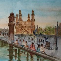 landscape, 18 x 14 inch, ram mohan e,18x14inch,handmade paper,paintings,cityscape paintings,landscape paintings,nature paintings | scenery paintings,impressionist paintings,paintings for living room,paintings for office,paintings for kids room,paintings for hotel,paintings for school,watercolor,GAL069745365