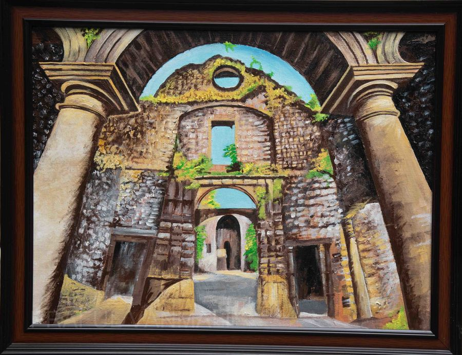 Vasai fort with arch and columns live painting
