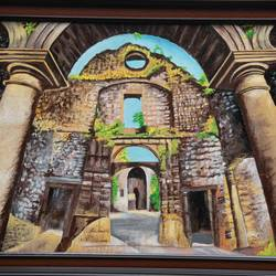 vasai fort with arch and columns live painting, 27 x 21 inch, prafulla  vanmali ,27x21inch,canvas board,paintings,nature paintings | scenery paintings,acrylic color,fabric,GAL03084745369