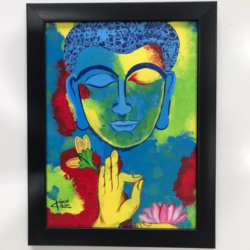 buddha, 9 x 12 inch, kunjal patel,9x12inch,canvas,paintings,religious paintings,paintings for dining room,paintings for living room,paintings for bedroom,paintings for office,paintings for hotel,paintings for school,paintings for hospital,paintings for dining room,paintings for living room,paintings for bedroom,paintings for office,paintings for hotel,paintings for school,paintings for hospital,acrylic color,GAL03266245373