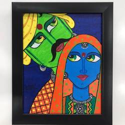 indian couple, 8 x 10 inch, kunjal patel,8x10inch,canvas,paintings,folk art paintings,contemporary paintings,paintings for bedroom,paintings for hotel,paintings for bedroom,paintings for hotel,acrylic color,GAL03266245374